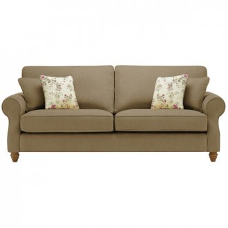 Amelia 4 Seater Sofa in Polla Silver with Rippon Plum Scatters