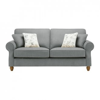 Amelia 3 Seater Sofa in Polla Grey with Rippon Natural Scatters