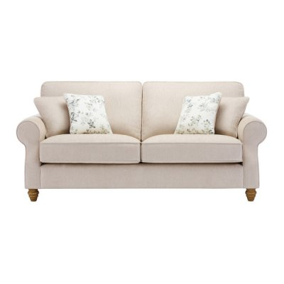Amelia 3 Seater Sofa in Polla Oatmeal with Rippon Natural Scatters