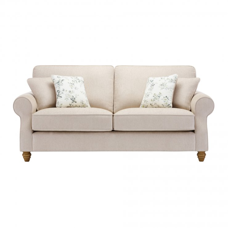 Amelia 3 Seater Sofa in Polla Oatmeal with Rippon Natural Scatters - Image 1