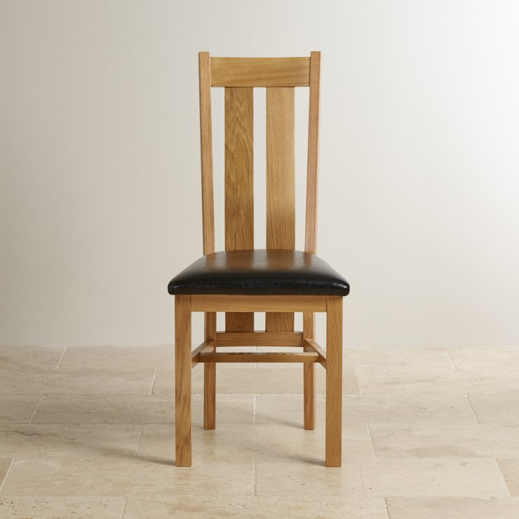 Arched Back Natural Solid Oak and Black Leather Dining Chair