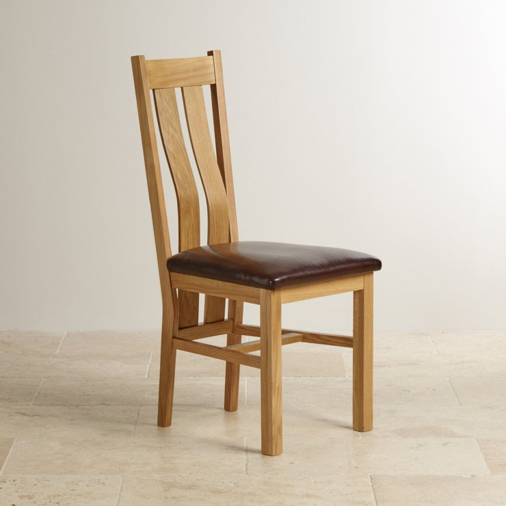 Arched Back Natural Solid Oak and Brown Leather Dining Chair - Image 3