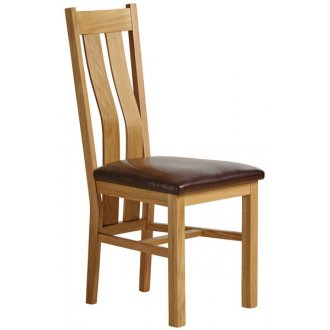 Arched Back Natural Solid Oak and Brown Leather Dining Chair