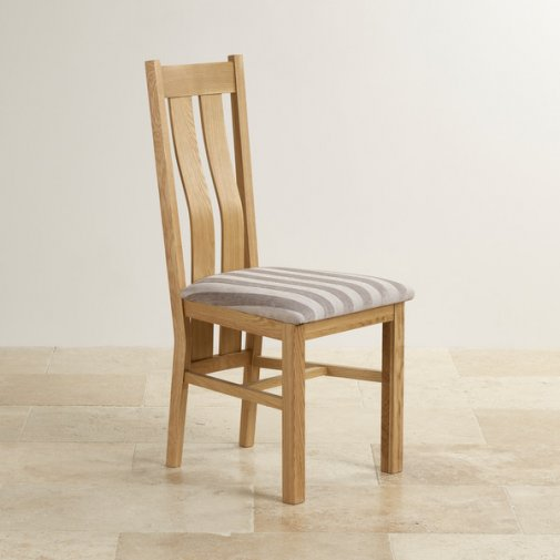 Arched Back Natural Solid Oak and Striped Silver Fabric Dining Chair
