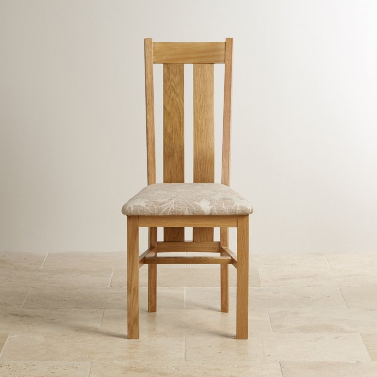 Arched Back Natural Solid Oak and Patterned Beige Fabric Dining Chair