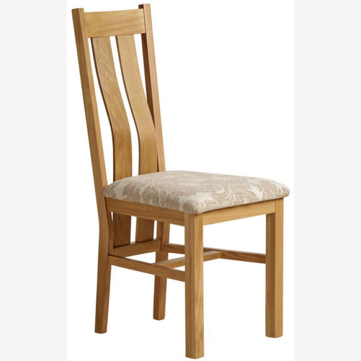 Arched Back Natural Solid Oak and Patterned Beige Fabric Dining Chair - Image 4