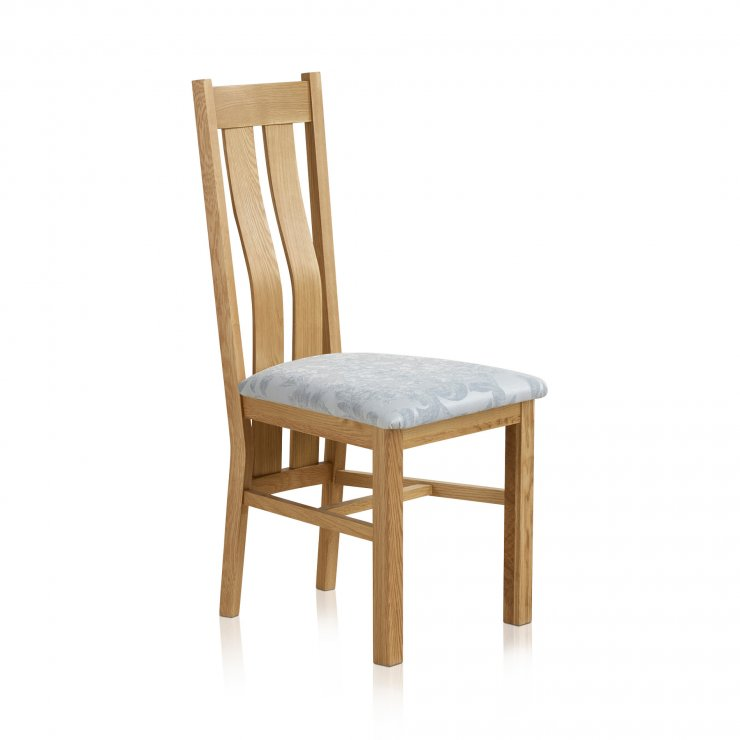 Arched Back Natural Solid Oak and Patterned Duck Egg Fabric Dining Chair - Image 3