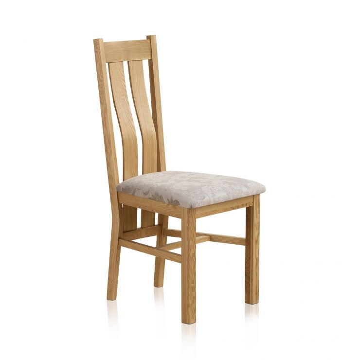 Arched Back Natural Solid Oak and Patterned Silver Fabric Dining Chair