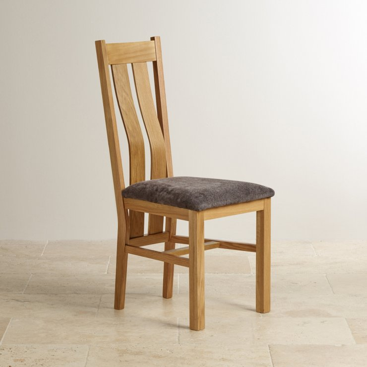 Arched Back Natural Solid Oak and Plain Charcoal Fabric Dining Chair - Image 3