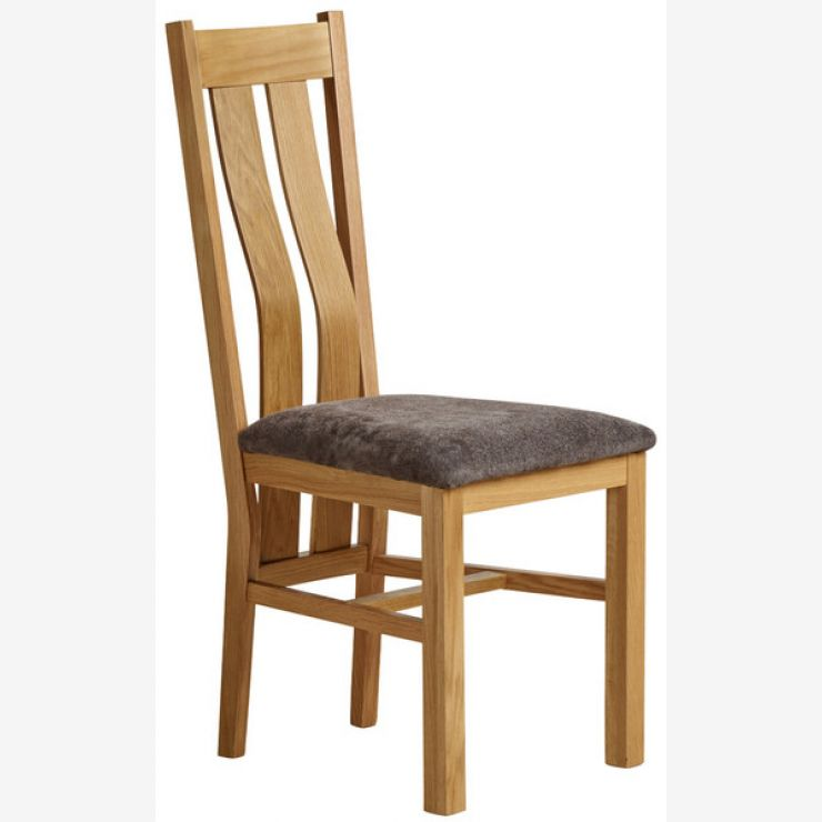 Arched Back Natural Solid Oak and Plain Charcoal Fabric Dining Chair - Image 1
