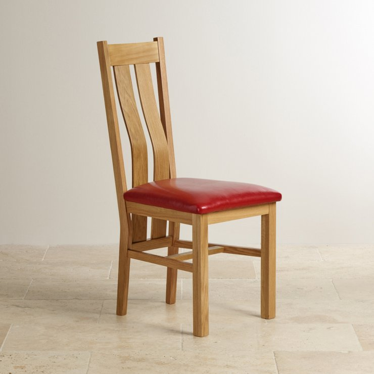 Arched Back Natural Solid Oak and Red Leather Dining Chair