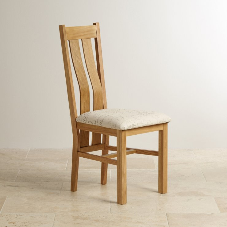 Arched Back Natural Solid Oak and Scripted Beige Fabric Dining Chair