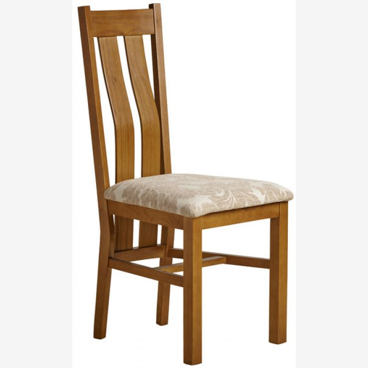 Arched Back Rustic Solid Oak and Beige Patterned Fabric Dining Chair