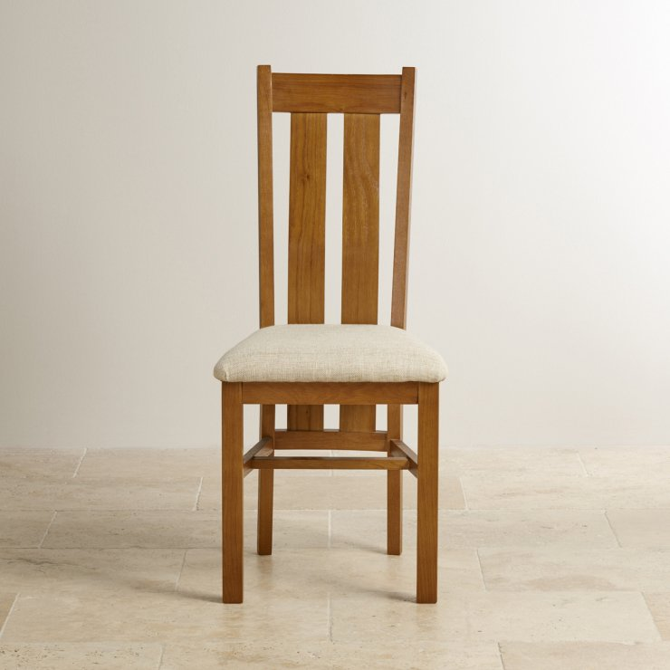Arched Back Rustic Solid Oak and Beige Plain Fabric Dining Chair