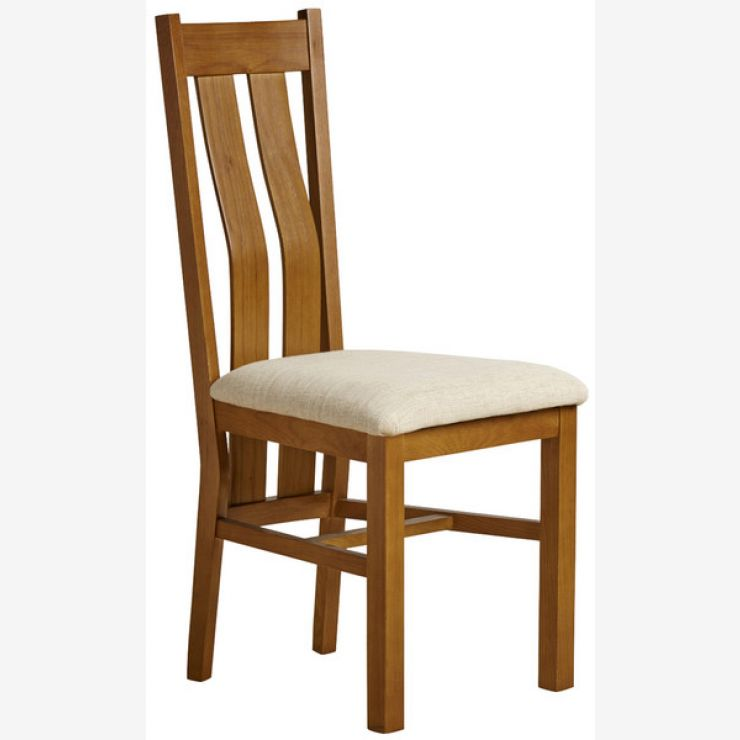 Arched Back Rustic Solid Oak and Beige Plain Fabric Dining Chair - Image 3