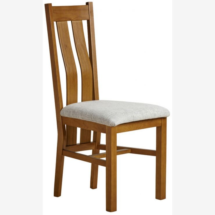Arched Back Rustic Solid Oak and Grey Plain Fabric Dining Chair - Image 3