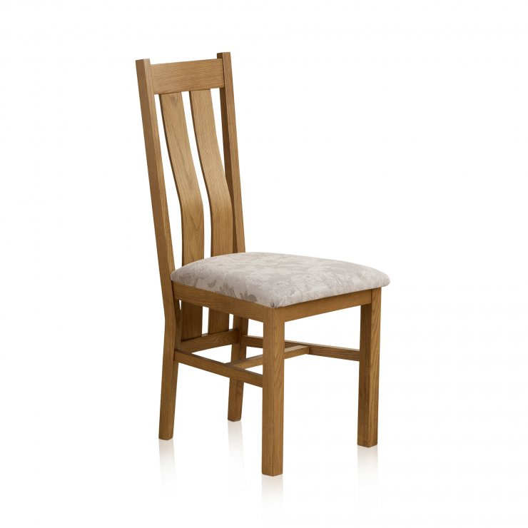 Arched Back Rustic Solid Oak and Patterned Silver Fabric Dining Chair - Image 3