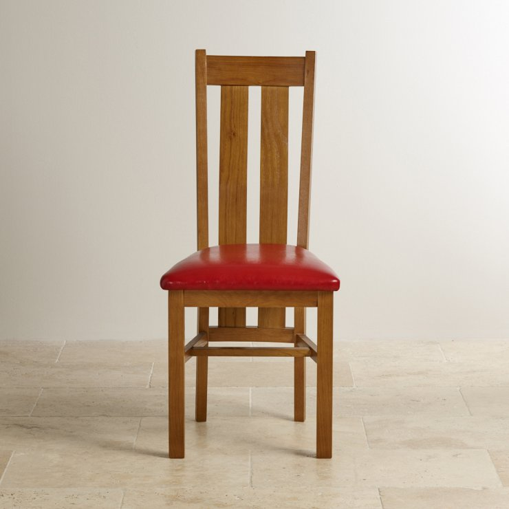 Arched Back Rustic Solid Oak and Red Leather Dining Chair