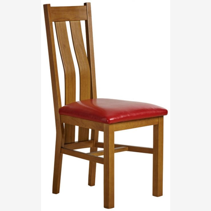 Arched Back Rustic Solid Oak and Red Leather Dining Chair - Image 3
