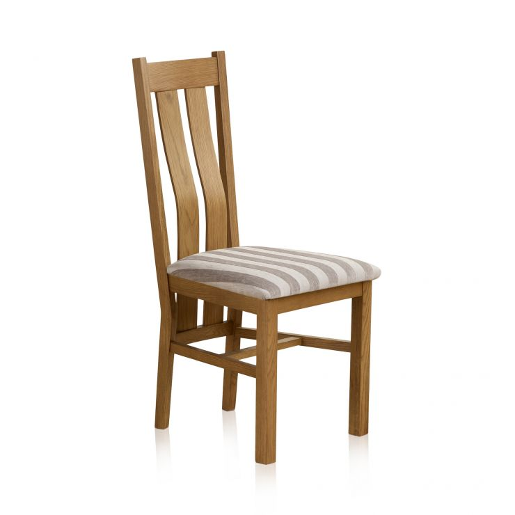 Arched Back Rustic Solid Oak and Striped Silver Fabric Dining Chair - Image 2