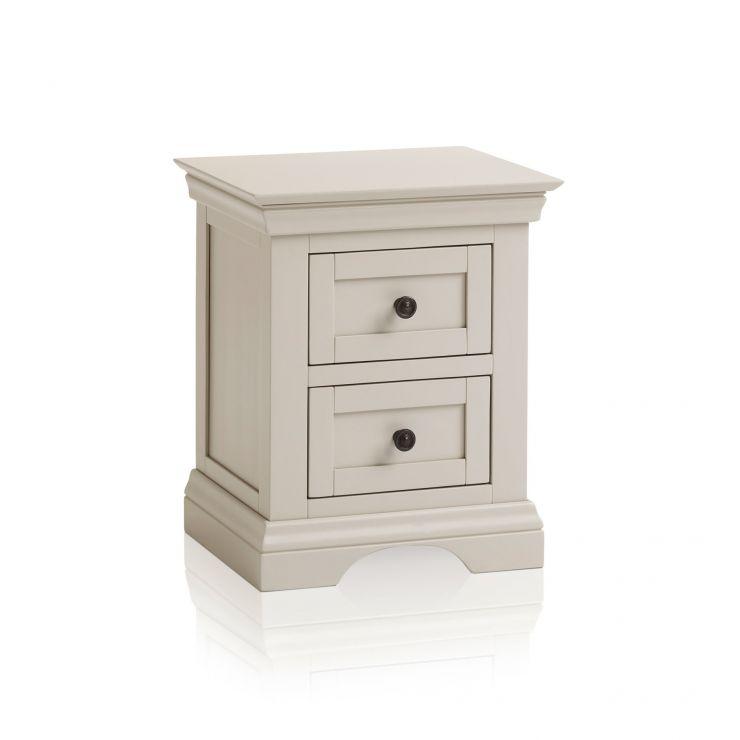 Arlette Grey 2 Drawer Bedside Table in Painted Hardwood