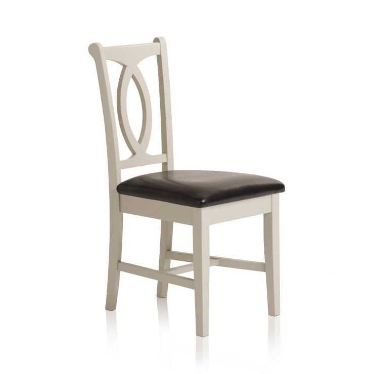 Arlette Painted Hardwood Black Leather Dining Chair