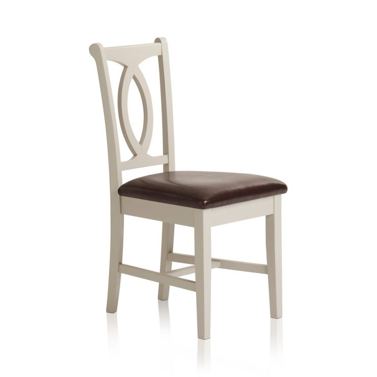 Arlette Painted Hardwood Brown Leather Dining Chair - Image 4