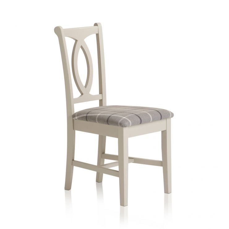 Arlette Painted Hardwood Check Granite Fabric Dining Chair - Image 4