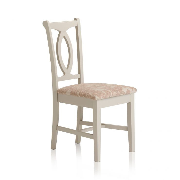 Arlette Painted Hardwood Patterned Beige Fabric Dining Chair - Image 1