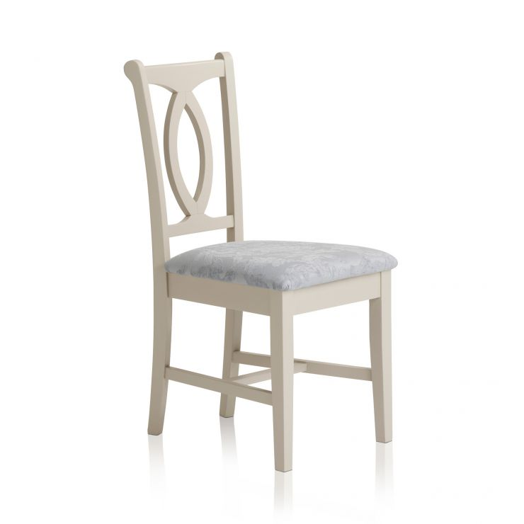 Arlette Painted Hardwood Patterned Duck Egg Fabric Dining Chair