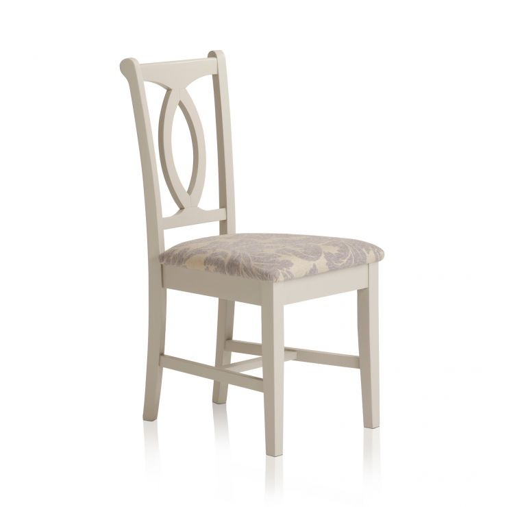 Arlette Painted Hardwood Patterned Grey Fabric Dining Chair