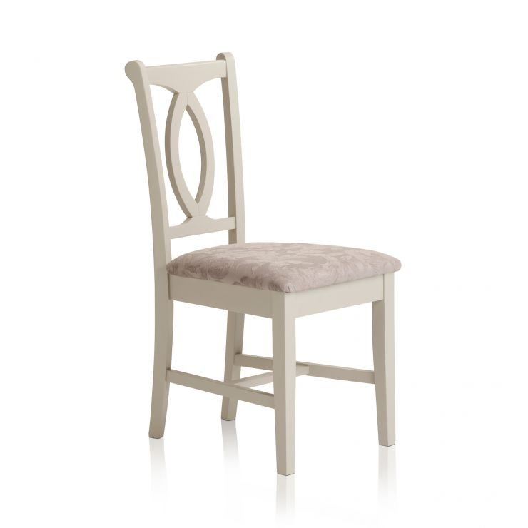 Arlette Painted Hardwood Patterned Silver Fabric Dining Chair