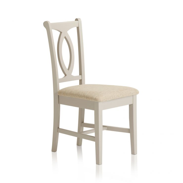 Arlette Painted Hardwood Plain Beige Fabric Dining Chair - Image 4