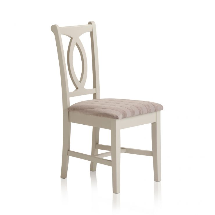 Arlette Painted Hardwood Striped Silver Fabric Dining Chair