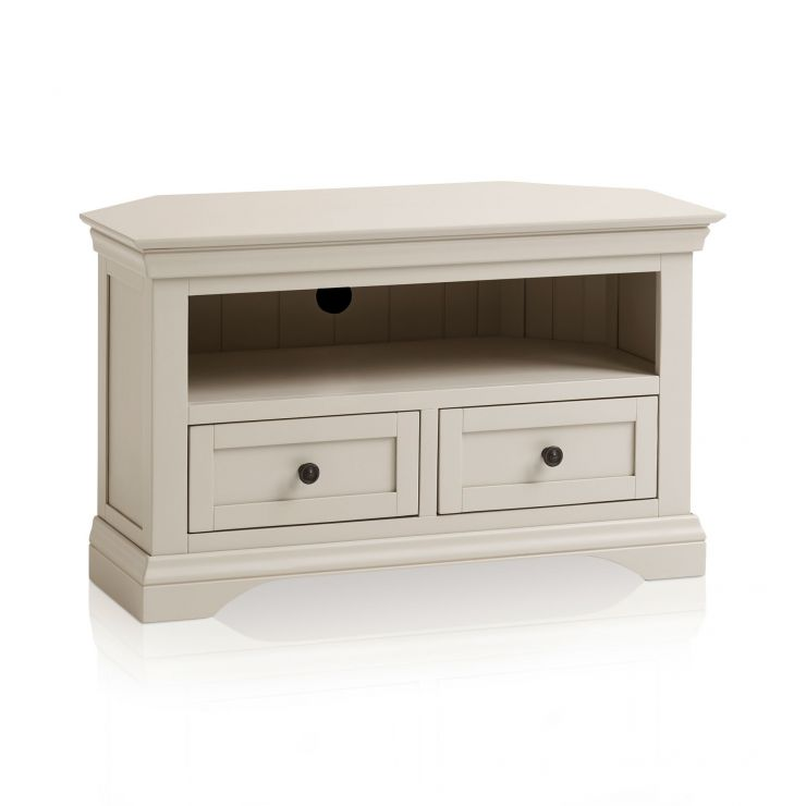 Arlette Grey Corner TV Unit in Painted Hardwood - Image 1