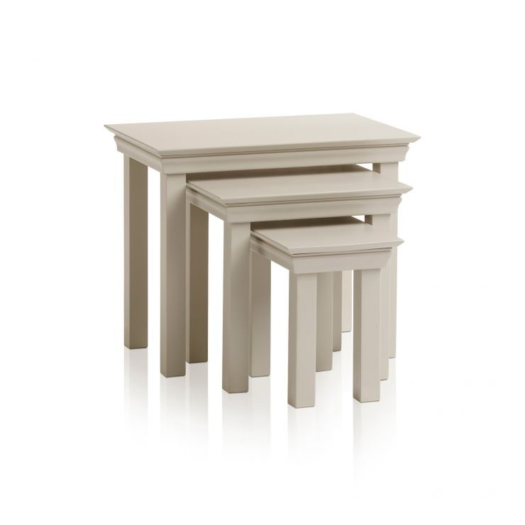 Arlette Grey Nest of 3 Tables in Painted Hardwood