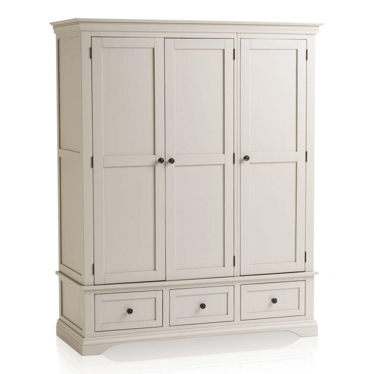 Arlette Grey Triple Wardrobe in Painted Hardwood