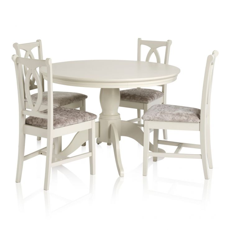 Arlette Painted Hardwood Dining Set - 5ft Round Dining Table with 4 Plain Truffle Fabric Chairs - Image 6