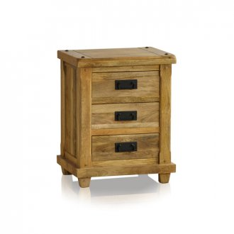 Baku Light Natural Solid Mango 3 Drawer Bedside Table