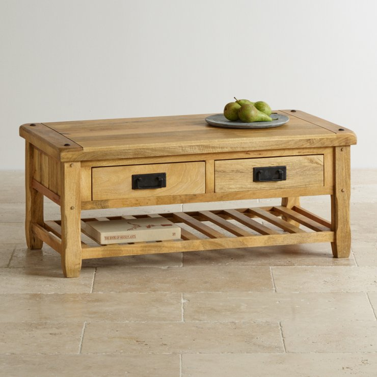 Baku Light Natural Solid Mango 4 Drawer Coffee Table