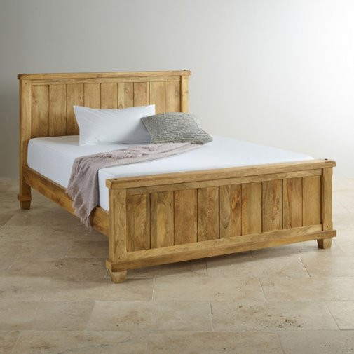 "Baku Light Natural Solid Mango 4ft 6"" Double Bed"