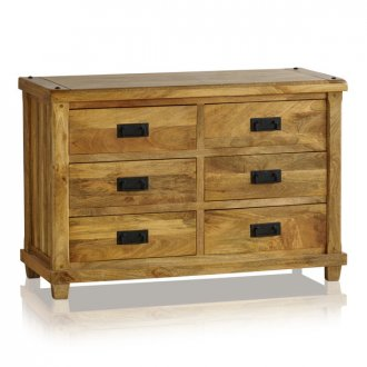 Baku Light Natural Solid Mango 6 Drawer Chest