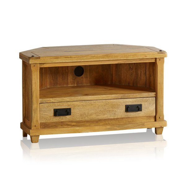 Baku Light Natural Solid Mango Corner TV Cabinet