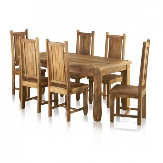 """Baku Light Natural Solid Mango Dining Set - 5ft 6"""" Table with 6 Wooden Chairs"""