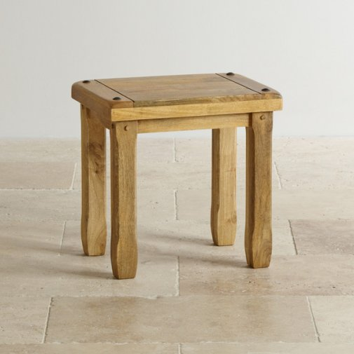 Baku Light Natural Solid Mango Dressing Table Stool