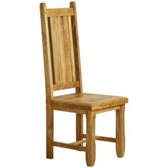 Baku Natural Solid Mango Dining Chair with Wooden Seat