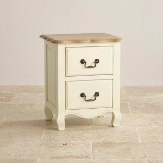 Bella Brushed Oak and Painted 2 Drawer Bedside Table