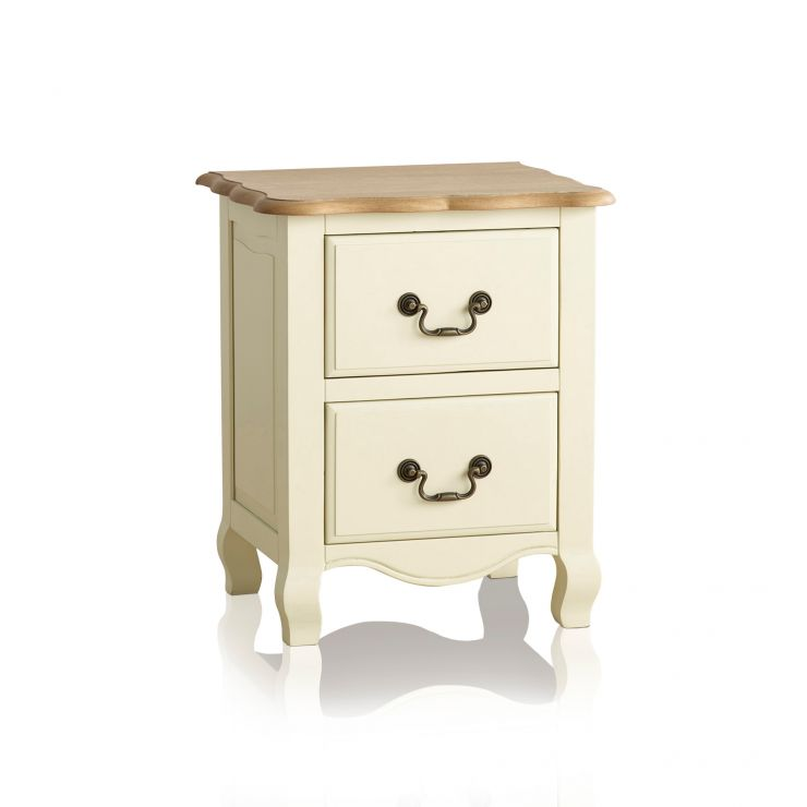 Bella Brushed Oak and Painted 2 Drawer Bedside Table - Image 6