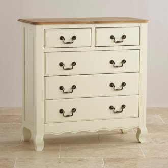 Bella Brushed Oak and Painted 3+2 Drawer Chest