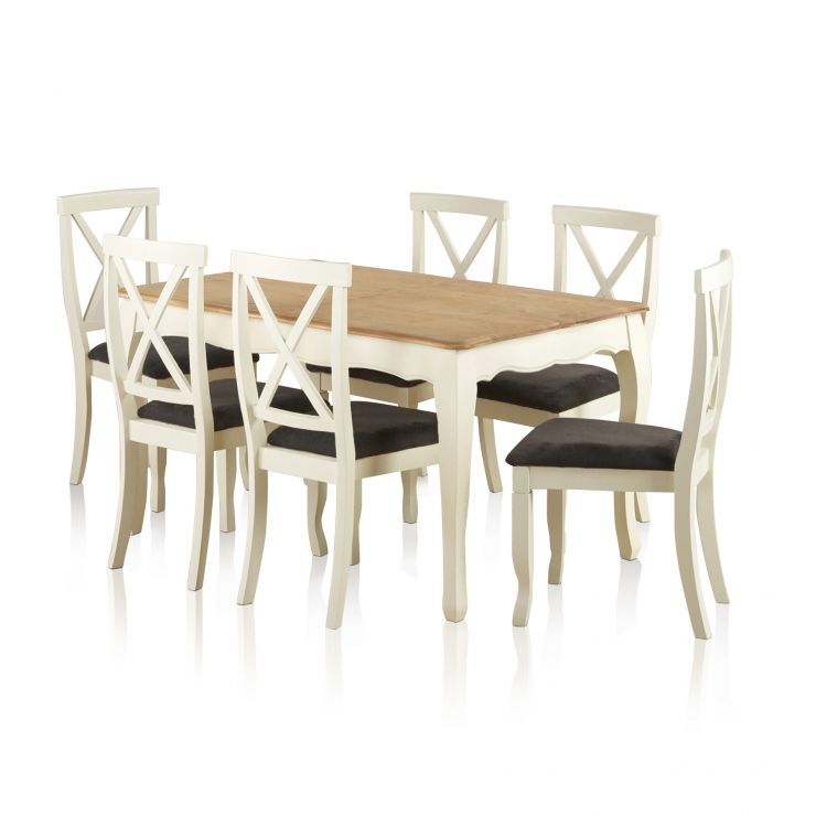 """Bella Brushed Oak and Painted 4ft 7"""" Extending Dining Set with 6 Bella Plain Charcoal Chairs - Image 5"""